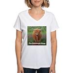 Highland cow women's V-neck T-shirt