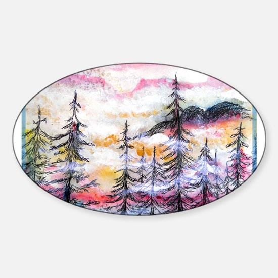 Misty mountains, art, Sticker (Oval)