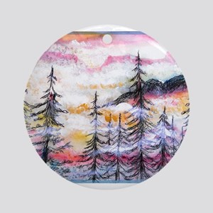 Misty mountains, art, Ornament (Round)