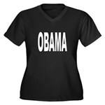 OBAMA Women's Plus Size V-Neck Dark T-Shirt