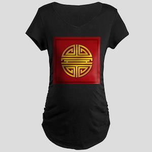 Chinese Longevity Sign Maternity Dark T-Shirt