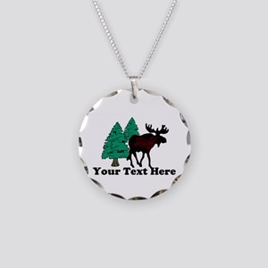 Personalized Moose Necklace Circle Charm