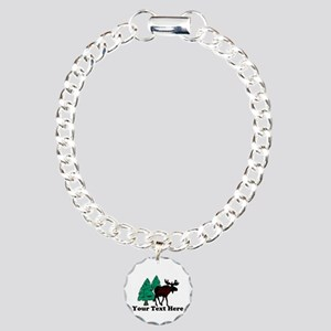 Personalized Moose Charm Bracelet, One Charm
