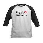 Kiss me I'm a brunette Kids Baseball Jersey