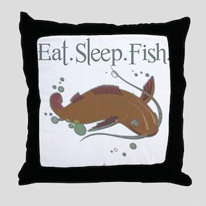 Eat.Sleep.Fish. Throw Pillow
