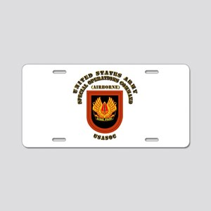 SOF - USASOC Flash with Text Aluminum License Plat