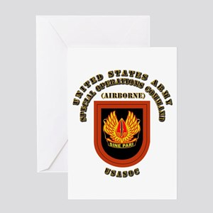 SOF - USASOC Flash with Text Greeting Card