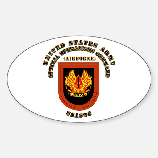 SOF - USASOC Flash with Text Sticker (Oval)