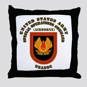 SOF - USASOC Flash with Text Throw Pillow