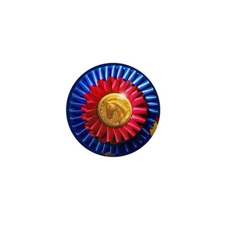 Horse Show Blue, Red Ribbon Mini Button (10 pack)