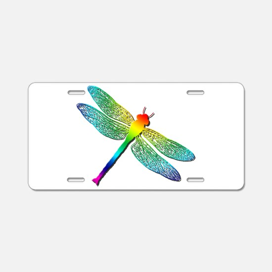 Rainbow Dragonfly Aluminum License Plate