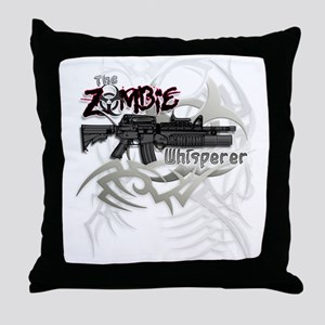 Zombie Whisperer Hunter M16 Throw Pillow