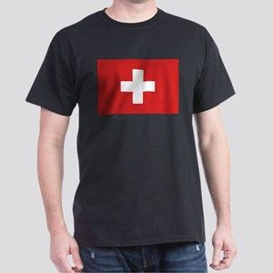 Switzerland Civil Ensign Black T-Shirt