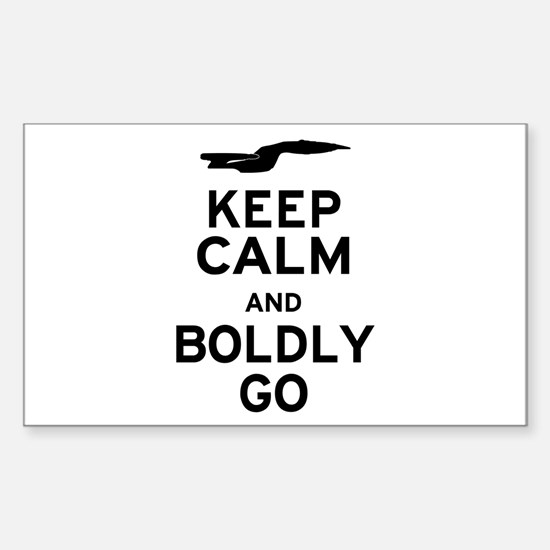 Keep Calm and Boldly Go Sticker (Rectangle)