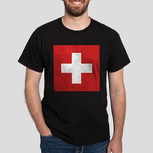 Switzerland Flag Black T-Shirt