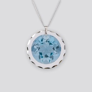 "Aquamarine Round Image"" Necklace Circle Charm"
