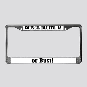 Council Bluffs or Bust! License Plate Frame