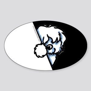 Peeking Coton de Tulear Sticker (Oval)