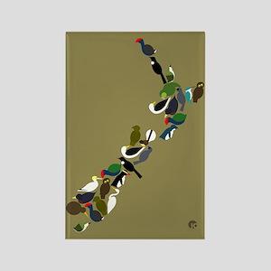 NZ Birds Map Rectangle Magnet
