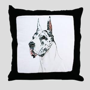 Harlequin Great Dane Throw Pillow