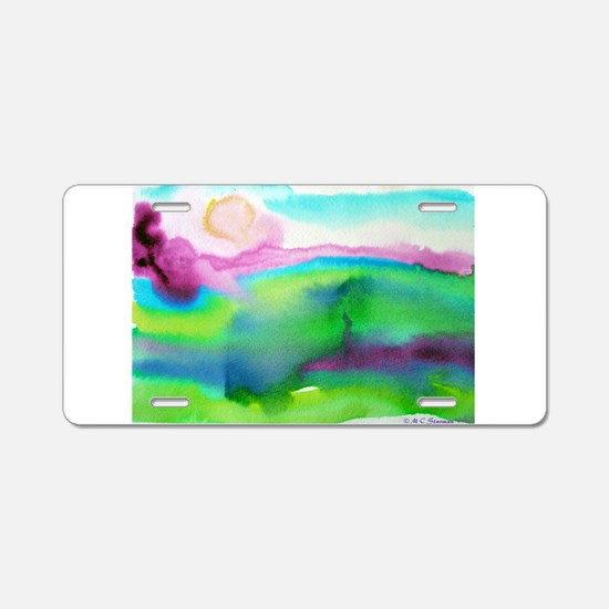 Watercolor, landscape, art, Aluminum License Plate