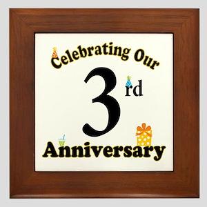 3rd Anniversary Party Gift Framed Tile