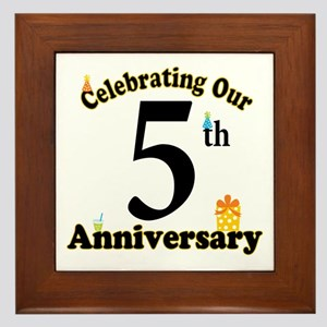 5th Anniversary Party Gift Framed Tile