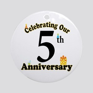 5th Anniversary Party Gift Ornament (Round)