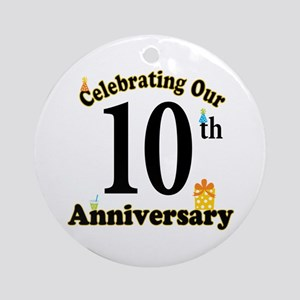 10th Anniversary Party Gift Ornament (Round)