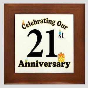 21st Anniversary Party Gift Framed Tile