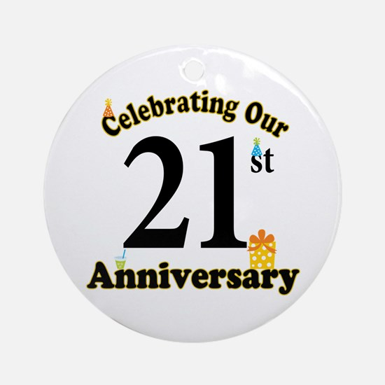 21st Anniversary Party Gift Ornament (Round)