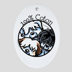 100% Coton Ornament (Oval)