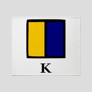 Nautical Letter K Throw Blanket