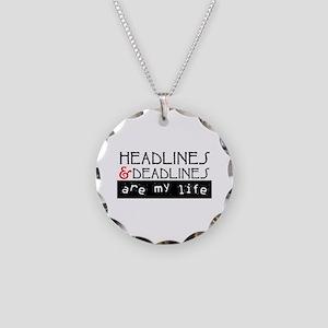 Headlines & Deadlines Necklace Circle Charm