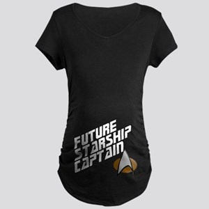 Future Starship Captain Maternity Dark T-Shirt