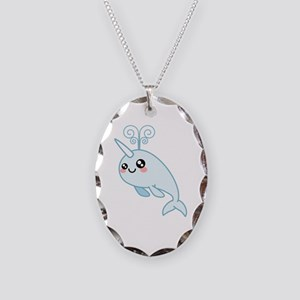 Narwhal Cutie Necklace Oval Charm