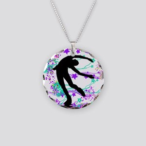 Figure Skater Spin Necklace Circle Charm