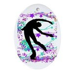 Figure Skater Spin Ornament (Oval)