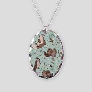 Otters Necklace Oval Charm