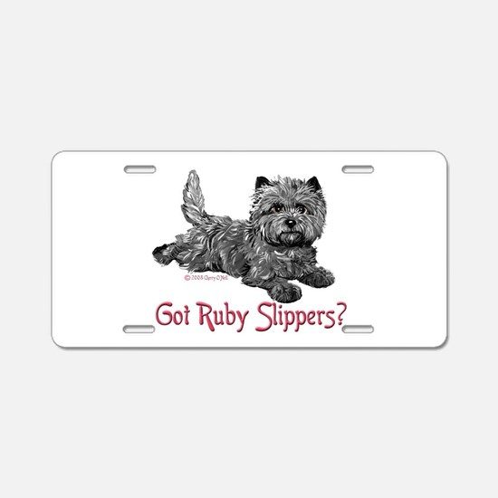 Cairn Terrier Ruby Slippers Aluminum License Plate