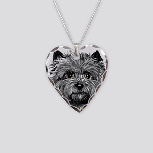 Cairn Terrier Toto Face Necklace Heart Charm