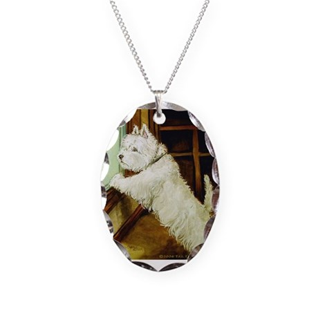 Waiting Westie Necklace Oval Charm