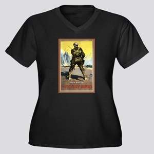 Back Him Up Women's Plus Size V-Neck Dark T-Shirt