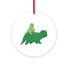 Piggyback Dinosaur Ornament (Round)