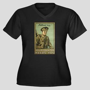 Follow Me Women's Plus Size V-Neck Dark T-Shirt