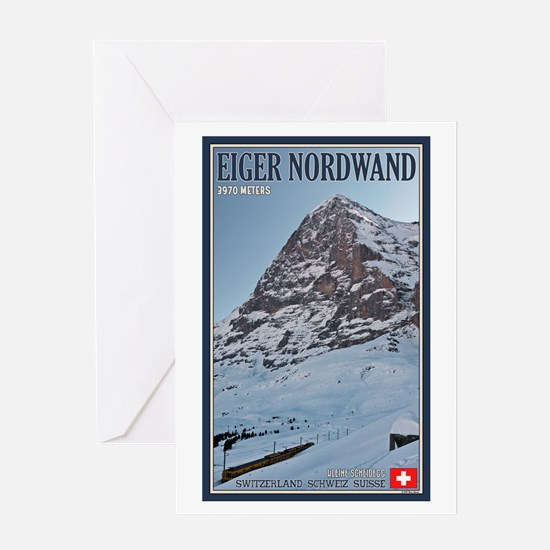 The Eiger and Train Greeting Card
