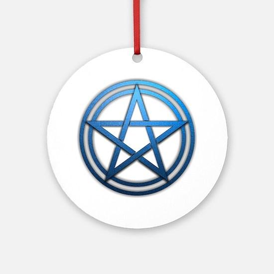 Blue Metal Pagan Pentacle Ornament (Round)