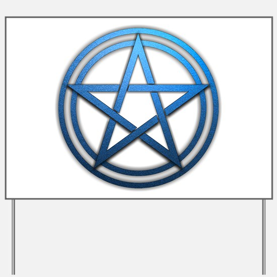 Blue Metal Pagan Pentacle Yard Sign
