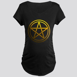 Gold Metal Pagan Pentacle Maternity Dark T-Shirt