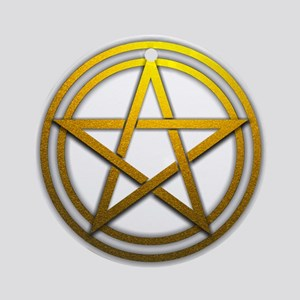 Gold Metal Pagan Pentacle Ornament (Round)